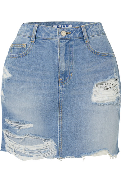 SJYP Minirock aus Denim in Distressed-Optik