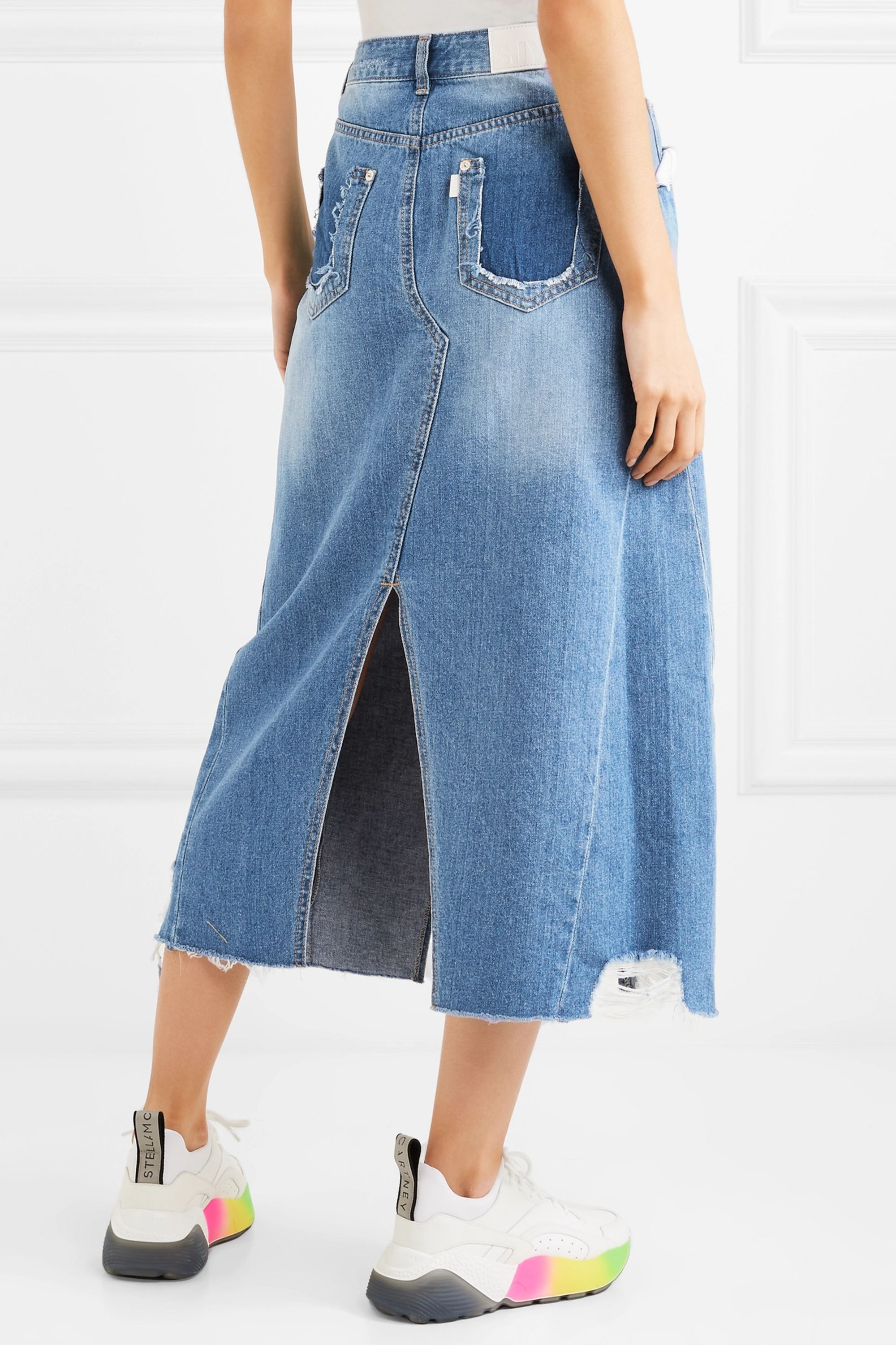 SJYP Distressed denim midi skirt