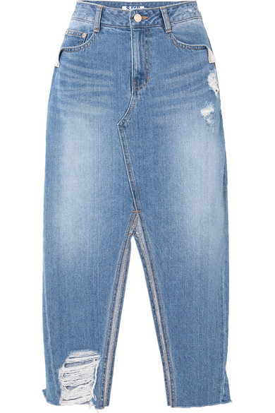 SJYP Midirock aus Denim in Distressed-Optik