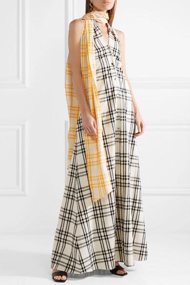 Belted Checked Cotton-voile Halterneck Gown - Black Rosie Assoulin VinhmVU