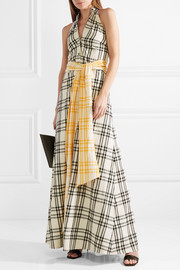 Belted checked cotton-voile halterneck gown