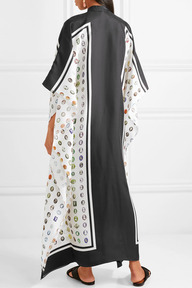 Oversized Asymmetric Printed Silk-twill Maxi Dress - White Rosie Assoulin oaMuleg1J