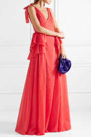 Bow-embellished ruffled cotton-voile gown