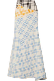 Paneled checked cotton maxi skirt