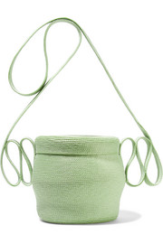 Jug faux straw shoulder bag