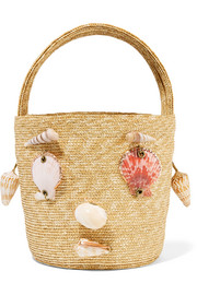 Embellished woven straw tote