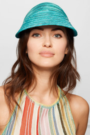 Mare mélange straw and satin-blend visor