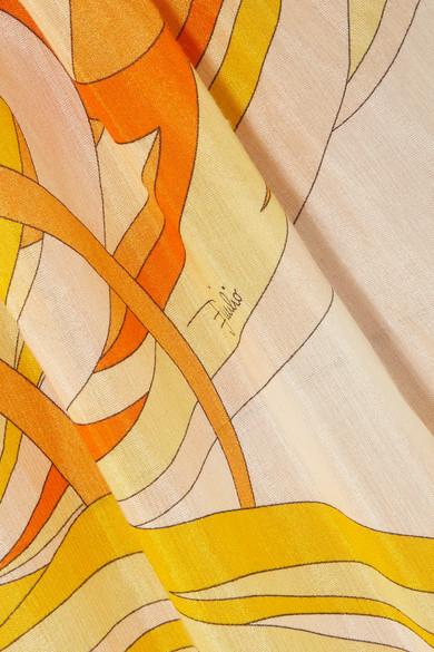 Emilio Pucci Gerafftes Maxikleid aus bedrucktem Voile aus einer Baumwoll-Seidenmischung