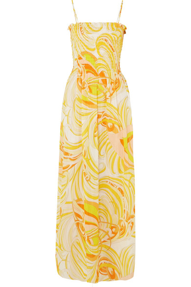 Smocked Printed Cotton And Silk-blend Voile Maxi Dress - Pastel yellow Emilio Pucci 5oc8gPcSYB
