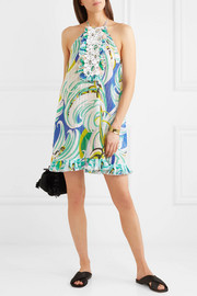 Emilio Pucci Crochet-paneled printed broderie anglaise cotton-blend mini dress
