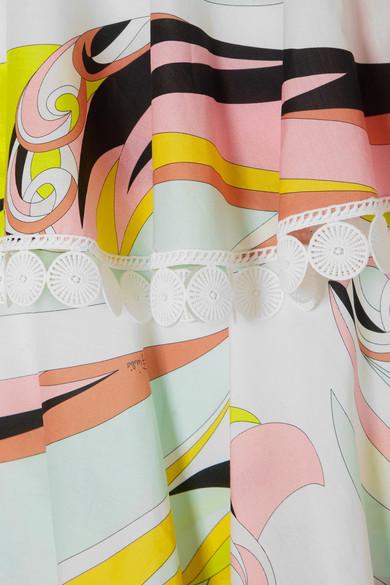 Emilio Pucci Gestuftes Minikleid aus bedruckter Baumwolle mit Lochstickerei