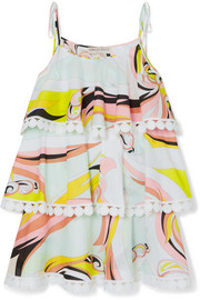 Emilio Pucci Tiered crochet-trimmed printed cotton mini dress