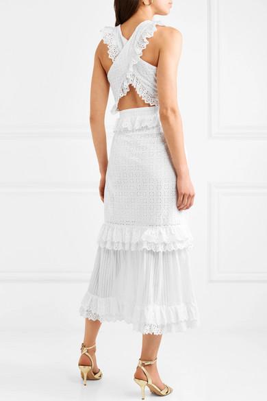 alice McCALL Everything She Wants gestuftes Baumwollkleid mit Lochstickerei und Rüschen