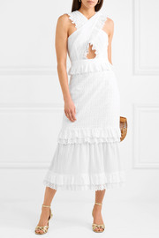 Everything She Wants tiered ruffled broderie anglaise cotton dress