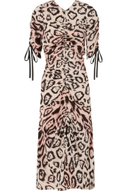 alice McCALL Animale ruched leopard-print silk crepe de chine midi dress