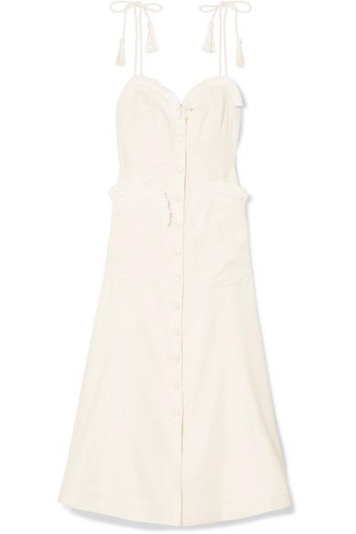 Girls On Film Raffia-Trimmed Woven Midi Dress