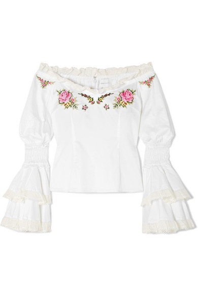 Bon Voyage Off-The-Shoulder Embroidered Cotton Blouse, White