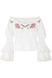 Bon Voyage off-the-shoulder embroidered cotton blouse