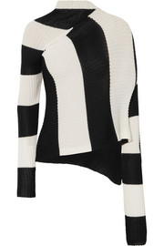 Asymmetric striped stretch-knit turtleneck sweater