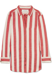 Oversized striped linen and cotton-blend shirt