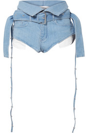 Marques' Almeida Belted fold-over denim shorts