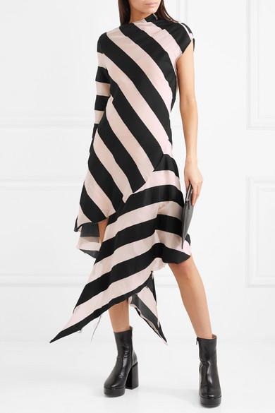Marques' Almeida Asymmetrisches Kleid aus gestreifter Gaze aus einer Baumwoll-Seidenmischung