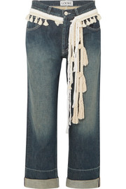 Rope-trimmed cropped boyfriend jeans