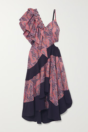 Cold-shoulder ruffled printed cotton-jersey maxi dress