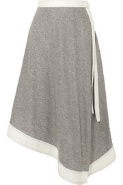 Asymmetric linen and ramie-blend midi skirt