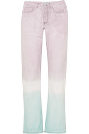 Tie-dyed high-rise straight-leg jeans