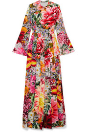 Mary Katrantzou Desmine pleated floral-print crepe de chine gown