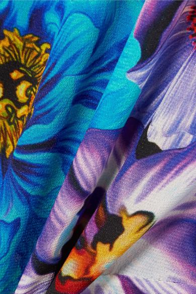 Mary Katrantzou Kleid aus Crêpe de Chine aus Seide mit Schluppe und Blumenprint