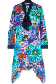 Mary Katrantzou Pussy-bow floral-print silk crepe de chine dress