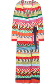 Mary Katrantzou Oceania striped knitted wrap maxi dress
