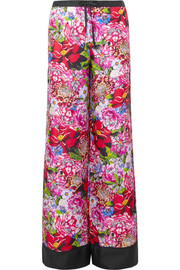 Macaw floral-print silk-satin twill wide-leg pants