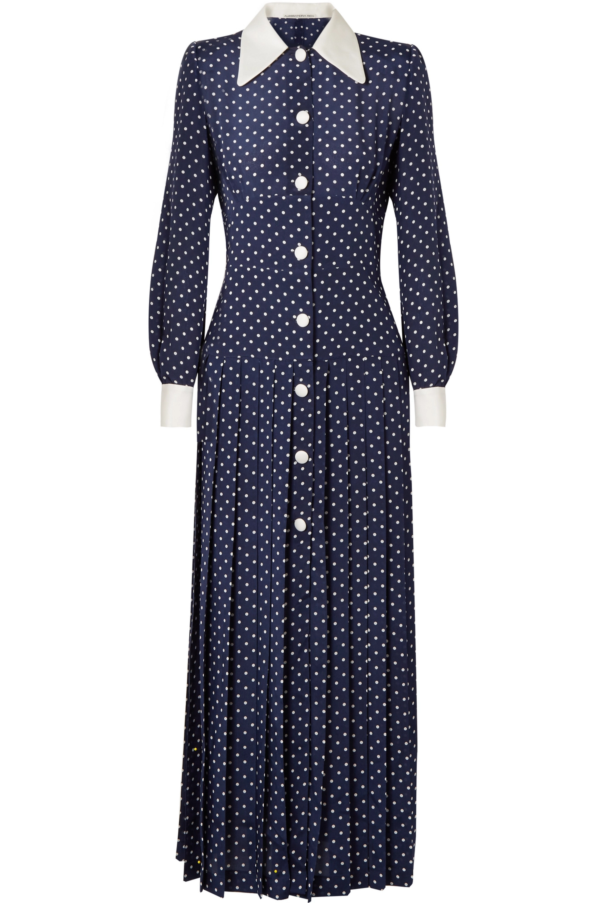 Alessandra Rich Pleated polka-dot silk crepe de chine midi dress