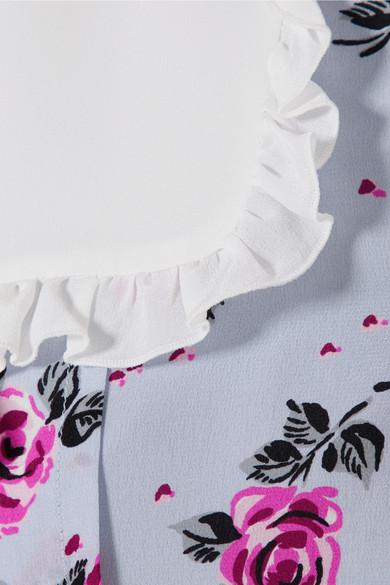 Alessandra Rich Midikleid aus Crêpe de Chine aus Seide mit Blumendruck