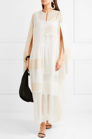 Odette broderie anglaise cotton-blend and organza maxi dress