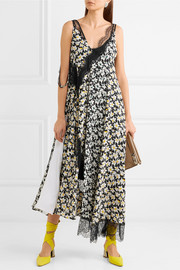 Bronte lace-trimmed floral-print silk midi dress