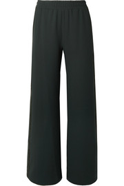 Lattice-trimmed crepe wide-leg pants