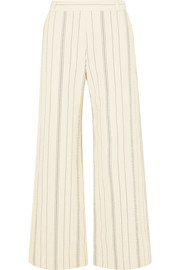 See by Chloé Pinstriped cotton-blend wide-leg pants