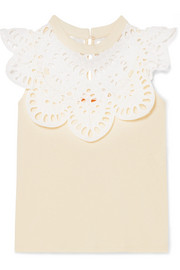 Cotton-jersey and broderie anglaise top