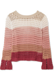 Striped crocheted cotton-blend sweater