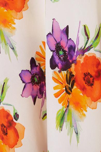 MSGM Maxikleid aus Seidenchiffon mit floralem Print