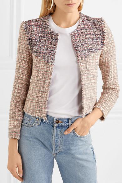 IRO Walefa Jacke aus Tweed aus einer Baumwollmischung mit Fransen
