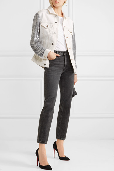 IRO Nanopo Jacke aus paillettenverziertem Jersey und Denim