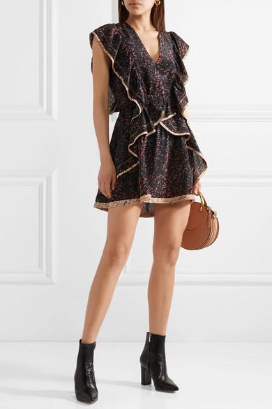 IRO Jicka Minikleid aus bedrucktem Seiden-Georgette mit Rüschen