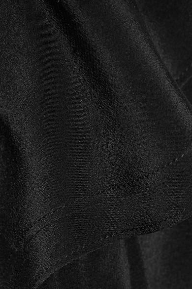 IRO Brooka Minikleid aus vorgewaschener Seide mit asymmetrischer Schulterpartie und Rüschen