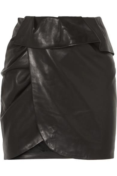 IRO Andice Minirock aus Leder mit Wickeleffekt und Rüschen