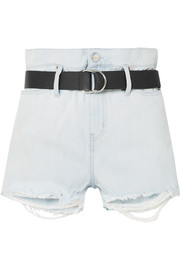 Andel belted distressed denim shorts